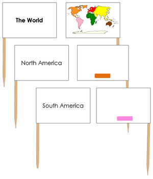 World Map Labels: Pin Flags - Montessori geography materials