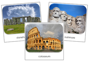 World Landmarks Safari Toob Cards - Montessori Print Shop