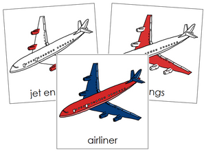 Airliner Nomenclature Cards (red) - Montessori Print Shop