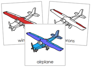 Airplane Nomenclature Cards (red) - Montessori Print Shop