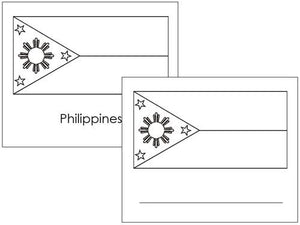 Asian Flags: Outlines - Montessori geography materials