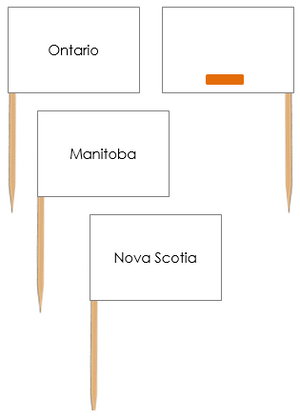 Canada Map Labels: Pin Flags - Montessori geography materials