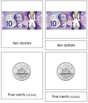 Canadian Currency Cards - Montessori continent cards