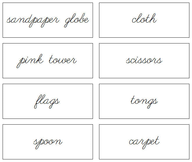 Montessori Environment Labels (Cursive) - Montessori Print Shop