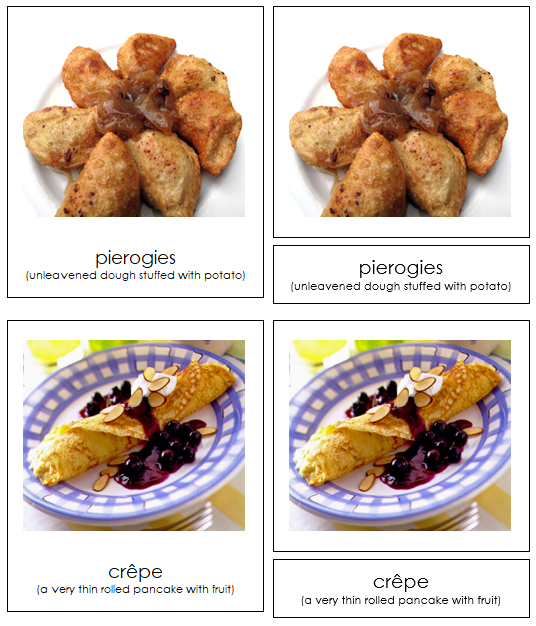 European Food 3-part cards - Montessori Print Shop