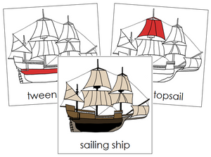 Sailing Ship Nomenclature Cards (red) - Montessori Print Shop