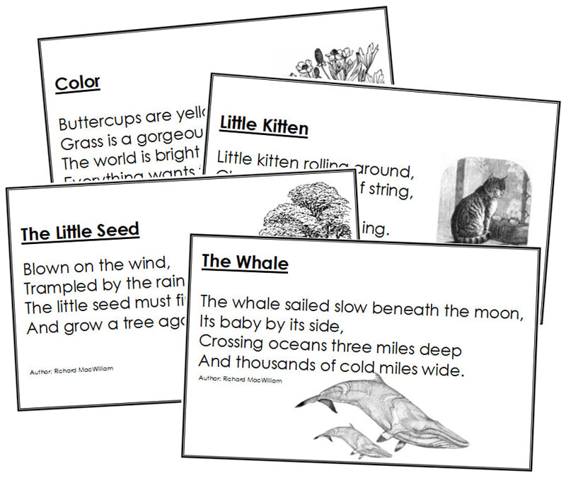 Short poetry for children - Montessori Print Shop