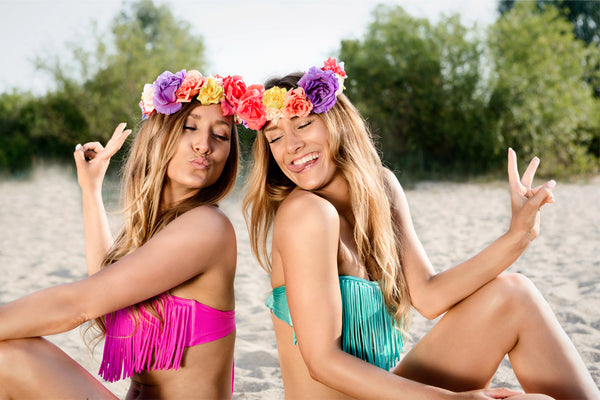 Swimwear for pear shapes - girls with fringed bikini tops and flower crowns