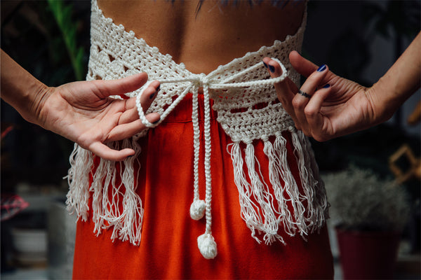 crochet crop top with tasselled fringe