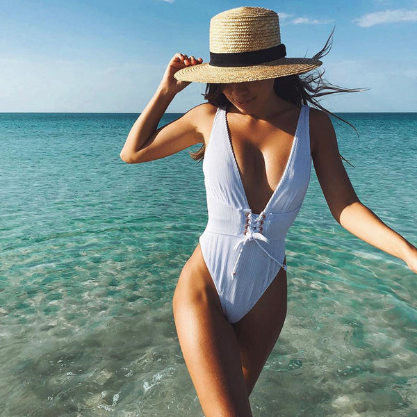 2018 Sexy Deep-V One Piece Swimsuit White Black Solid Women Swimwear Bodysuit Bandage Cut Out Summer Beach Bathing Suit Swim