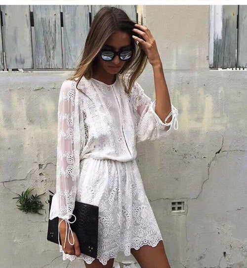Bohemian Lace Up Dress