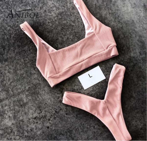 Anibol 2018 Yellow Swimwear Women Bikini Set Sexy Brazilian Pink Bikinis Women Swimsuit Girls Bathing Suit Biquine