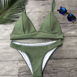 Army Green Bikini Thong Swimsuit Sexy Bikini Set Female Push Up Swimwear Women Biquini Bathing Suit Beachwear maillot de bain