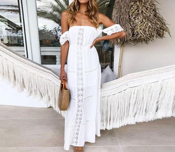 Bohemian Chic White Lace Dress