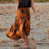 Boho High Waist Skirt Women Beach Loose Maxi Skirts Summer Vintage Boho Print Asymmetrical Elegant Split Long Skirt Clothing