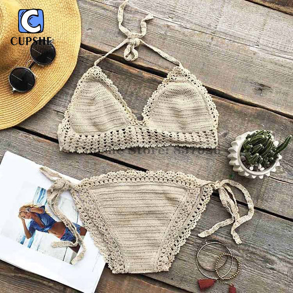 Cupshe Butter Cake Crochet Tie at back Bikini Set Summer Sexy Swimsuit Ladies Beach Bathing Suit swimwear