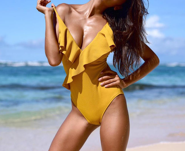 """Evangeline"" Yellow Goddess One-piece Swimsuit"