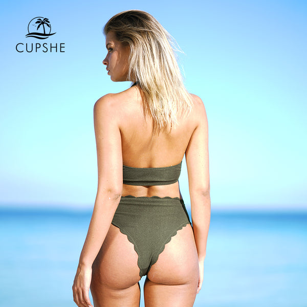 Cupshe Life Solid Bikini Set Women Summer Plain Halter Two Pieces Swimsuit 2018 New Girls Sexy Beach Bathing Suit Swimwear