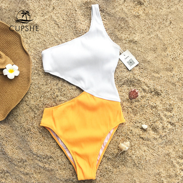 Cupshe One Shoulder Cutout Plain One-piece Swimsuit 2018 Women New Off Shoulder Patchwork Bikini Padded Bathing Suit Swimwear