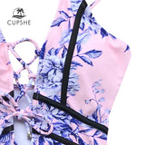 Cupshe Pink Flower Print Piping One-piece Swimsuit Women Deep V-neck Lace up Sexy Bodysuits Swimwear 2018 Beach Slim Monokinis