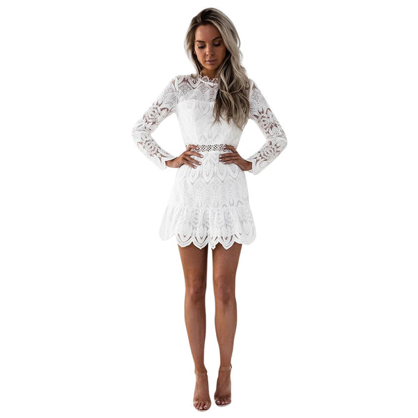 Feitong 2018 Women's Lace Long Sleeve Party Cocktail Mini Dress Black White Hollow Out Short Dress Vestidos femininos