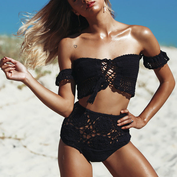 """Helena"" Off Shoulder Crochet Bikini"