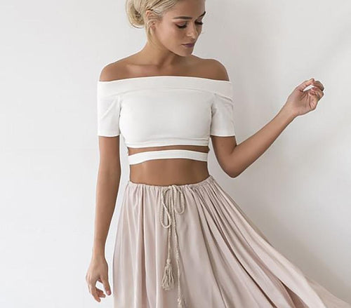 Casual White Hollow Out Crop Top