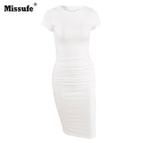 Missufe White Women Ruching Dresses 2018 Vestidos Stretchy Short Sleeve Pleated Robe Summer Dress Party Bandage Dress For Women