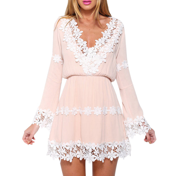 Cute White Pink Solid Lace Dress