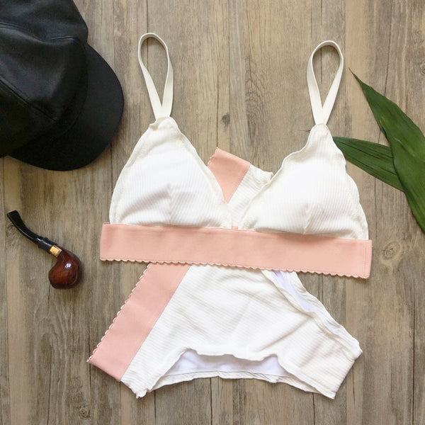 """Jules"" Pink Piping High Waisted Brazilian Bikini"