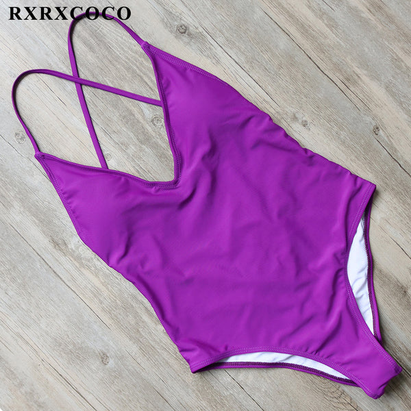 RXRXCOCO One Pieces Swimsuits Women 2017 Solid Swimwear Female Padded Bathing Suit Halter Bandage Swimming Suit Sexy Beachwear