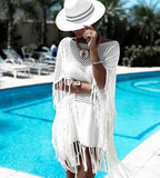 Summer Beach Wear Bathrobe Women Dress Towel Cover Ups Coverups For Bathing Suit Covers 2018 New White Whisker Knitted Loose