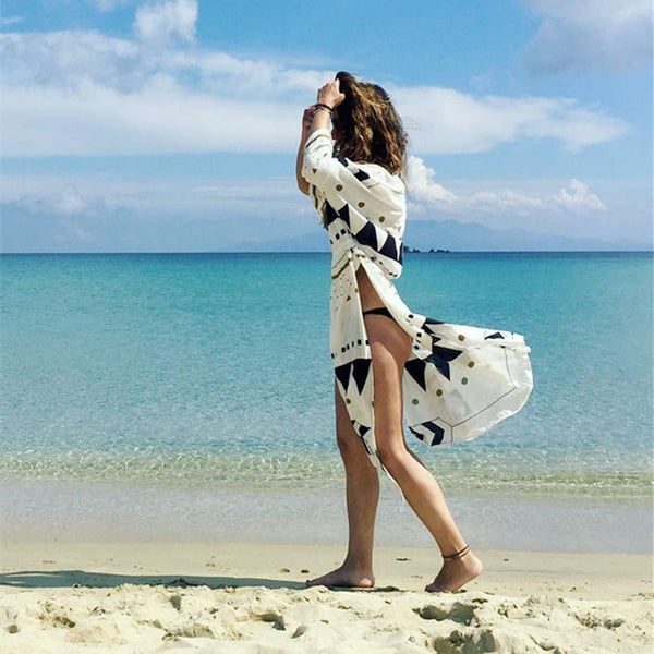 Swimsuit Cover Up 2018 Women Pareo Beach Dress Wears Print Loose Long Dress Beach Cardigan Bathing Suit Beach Cover Ups