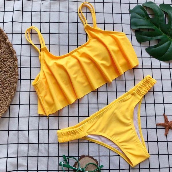 """Corin"" Little Yellow Sexy Ruffle Bikini"