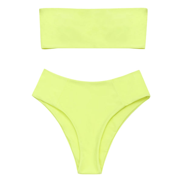ZAFUL Bikini Swimwear Women Bandeau Collar High Cut Bikini Set Strapless Swimsuit High Leg Bathing Suit Summer Beacher Biquni