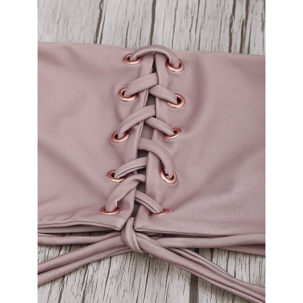 """Eve"" Eyelet Lace Up Bandeau Bikini"