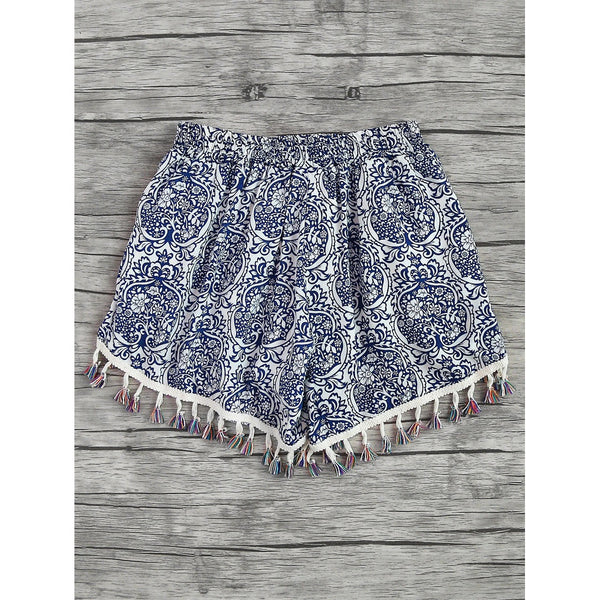 Printed Tassel Shorts