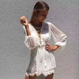 new spring/summer lace chiffon white playsuits party fashion holiday
