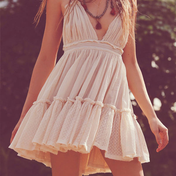 Vintage Bohemian Halter Neck Dress