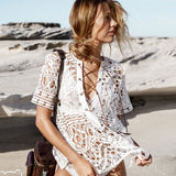Lace-Up Crochet Beach Cover Up