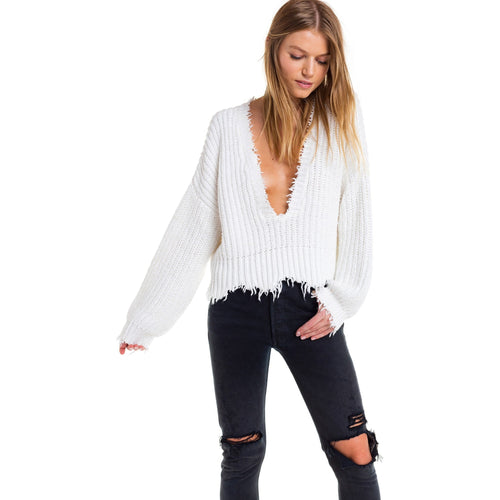 Deep V Neck Cropped Knitted Jumper