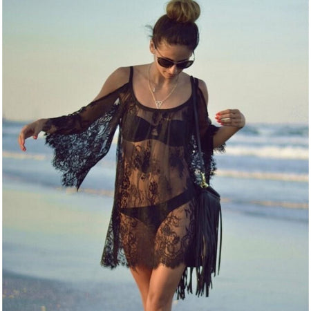 Lace Applique Beach Cover Up