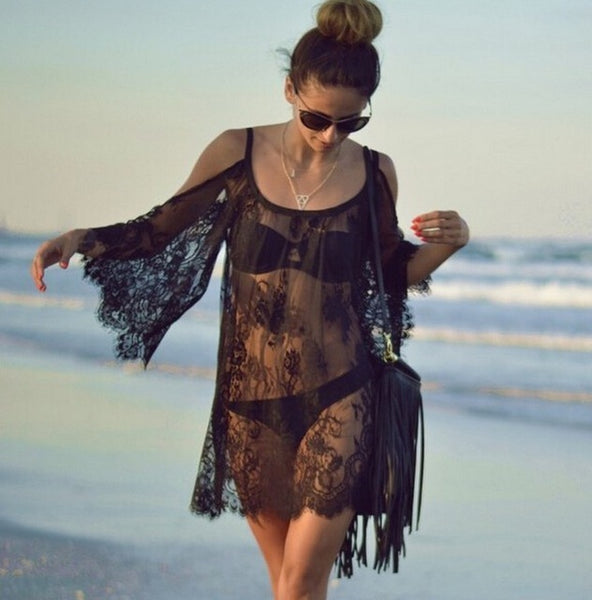 Lace Cold Shoulder Beach Cover-Up