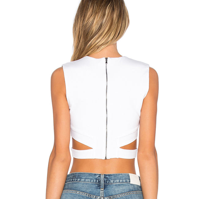 Strappy Zipper Crop Top
