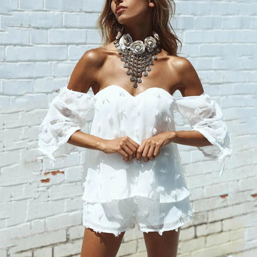 Strapless Off Shoulder White Romper