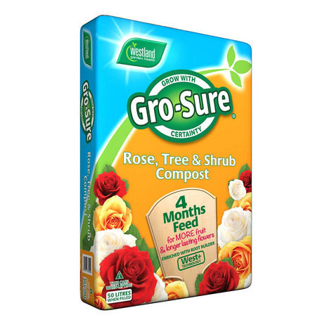 Gro-Sure Rose, Tree & Shrub Compost With 4 Months Feed 50L