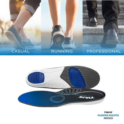 Tuli's Plantar Fasciitis Insoles used for walking, running, and professional shoes
