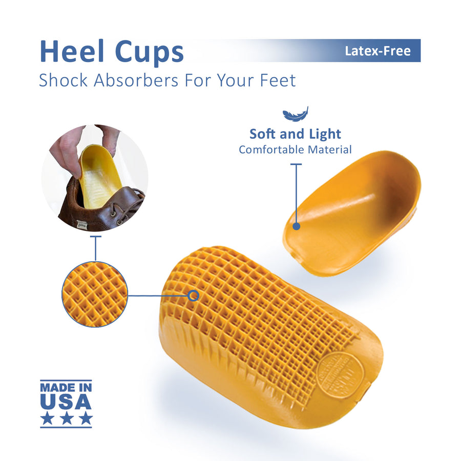 Tuli's Classic Heel Cups, Shock Absorbing Design for Plantar Fasciitis, heel pain, with APMA seal of acceptance