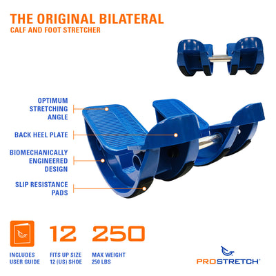 ProStretch Double The Original Calf and Foot Stretcher features an optimum stretching angle, back heel plate, biomechanically engineered design, and slip resistance pads