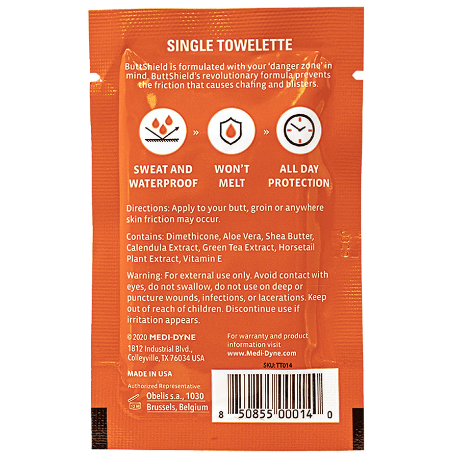 2Toms® ButtShield® Anti Chafing Towelette
